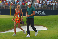 Jena Sims rushes to congratulate her fiance, Brooks Koepka (USA) on the green on 18 for winning the 100th PGA Championship at Bellerive Country Club, St. Louis, Missouri. 8/12/2018.<br /> Picture: Golffile | Ken Murray<br /> <br /> All photo usage must carry mandatory copyright credit (&copy; Golffile | Ken Murray)