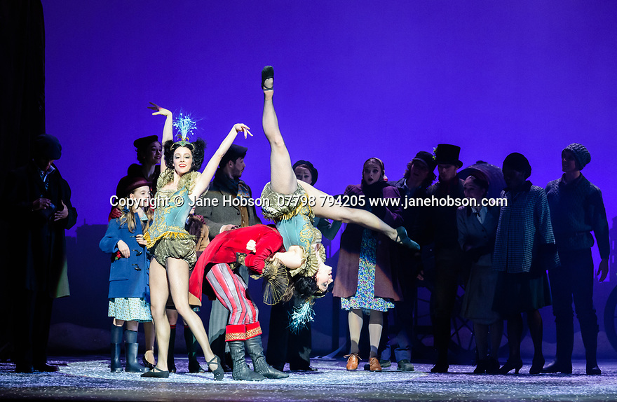Scottish Ballet presents the world premiere of The Snow Queen, at the Festival Theatre. The work is choreographed by Christopher Hampson, to the music of Rimsky-Korsakov, with set and costume design by Lez Brotherston, and lighting design by Paul Pyant.  The cast is: Constance Devernay (Snow Queen), Bethany Kingsley-Garner (Gerda), Andrew Peasgood (Kai), Kayla-Maree Tarantolo (Lexi). The picture shows: Bruno Micchiardi (Ringmaster), the company.