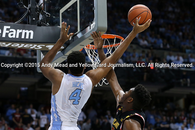 01 December 2015: North Carolina's Isaiah Hicks (4) and Maryland's Diamond Stone (right). The University of North Carolina Tar Heels hosted the University of Maryland Terrapins at the Dean E. Smith Center in Chapel Hill, North Carolina in a 2015-16 NCAA Division I Men's Basketball game. UNC won the game 89-81.