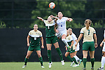 30 August 2015: William & Mary's Rachel Moore (8) and Duke's Ashton Miller (4) challenge for a header. The Duke University Blue Devils hosted the William & Mary University Tribe at Koskinen Stadium in Durham, NC in a 2015 NCAA Division I Women's Soccer game. Duke won the game 2-0.
