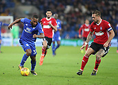 31st October 2017, Cardiff City Stadium, Cardiff, Wales; EFL Championship football, Cardiff City versus Ipswich Town; Junior Hoilett of Cardiff City controls the ball against Luke Chambers (C) of Ipswich Town