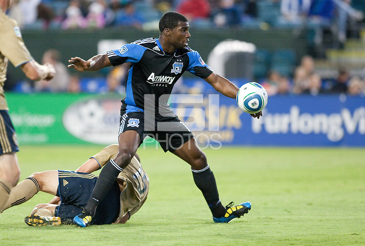 Brandon McDonald controls the ball. The San Jose Earthquakes defeated the Philadelphia Unioin 1-0 at Buck Shaw Stadium in Santa Clara, California on September 15th, 2010.