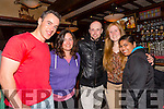 Enjoying The KY Comedy Alternative night at the Abbey Inn in aid of  Tralee Soup Kitchen on Thursday were Michael Scanlon Linda Raymond, Noel Dineen,Amy Collins and Tanya Dsouza