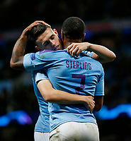 Phil Foden of Manchester City celebrates with Raheem Sterling of Manchester City after scoring his side's second goal to make the score 2-0 during the UEFA Champions League Group C match between Manchester City and Dinamo Zagreb at the Etihad Stadium on October 1st 2019 in Manchester, England. (Photo by Daniel Chesterton/phcimages.com)<br /> Foto PHC/Insidefoto <br /> ITALY ONLY