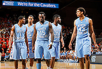 North Carolina players show their defeeated in the second half of the game against Virginia at the John Paul Jones arena in Charlottesville, Va. Virginia defeated North Carolina 61-52.