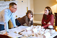 Undated photo of Kate Duchess of Cambridge Catherine Katherine Middleton with Andree Davies (centre) and Adam White (left), of  Davies White Landscape Architect, discussing plans for her Back To Nature garden, which will be entered at the RHS Chelsea Flower Show in May. The woodland wilderness garden aims to get people back to nature and highlight the benefits of the natural world on physical and mental wellbeing. It will feature a swing seat, a rustic den and a campfire, with a centrepiece of a high platform treehouse. Photo Credit: ALPR/AdMedia