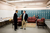 Rio Rancho, NM - May 14, 2009 -- United States President Barack Obama talks with Press Secretary Robert Gibbs following a town hall style meeting in Rio Rancho, New Mexico, May 14, 2009. .Mandatory Credit: Pete Souza - White House via CNP