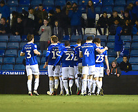 Oldham Athletic's Mohamed Maouche celebrates scoring the opening goal with team-mates<br /> <br /> Photographer Andrew Vaughan/CameraSport<br /> <br /> The EFL Sky Bet League Two - Oldham Athletic v Lincoln City - Tuesday 27th November 2018 - Boundary Park - Oldham<br /> <br /> World Copyright © 2018 CameraSport. All rights reserved. 43 Linden Ave. Countesthorpe. Leicester. England. LE8 5PG - Tel: +44 (0) 116 277 4147 - admin@camerasport.com - www.camerasport.com