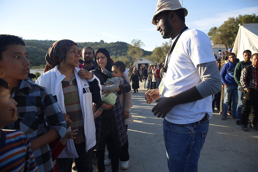 Food distribution at Moria Camp