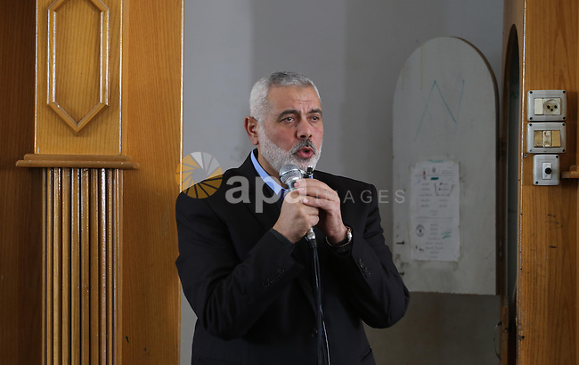 Senior Hamas leader Ismail Haniyeh speaks during the funeral of Palestinian Hamas militants whom killed when a tunnel collapse on Tuesday, during his funeral in the village of Al-Moghraga near central Gaza Strip, February 3, 2016. The collapse of a tunnel in the Gaza Strip has killed two militants from Hamas's armed wing, officials said Wednesday, as concern grows in Israel over the rebuilding of tunnels that can be used for attacks. Photo by Mohammed Asad