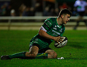9th February 2018, Galway Sportsground, Galway, Ireland; Guinness Pro14 rugby, Connacht versus Ospreys; Tom Farrell goes over the line for a Connacht try in the 69th minute