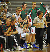 Westlake players yell support during the 2013 New Zealand Secondary Schools basketball championship boys semifinal against Rosmini at Arena Manawatu, Palmerston North, Wellington, New Zealand on Friday, 30 August 2013. Photo: Dave Lintott / lintottphoto.co.nz