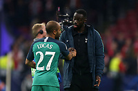 Former captain Ledley King congratulates hat trick hero Lucas of Tottenham Hotspur after AFC Ajax vs Tottenham Hotspur, UEFA Champions League Football at the Johan Cruyff Arena on 8th May 2019