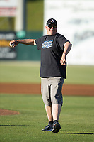 Mike Herman Jr,. spotter for NASCAR Monster Energy Cup driver Ricky Stenhouse Jr., throws out the ceremonial first pitch prior to the South Atlantic League game between the Asheville Tourists and the Kannapolis Intimidators at Kannapolis Intimidators Stadium on May 8, 2017 in Kannapolis, North Carolina.  The Tourists defeated the Intimidators 7-5.  (Brian Westerholt/Four Seam Images)