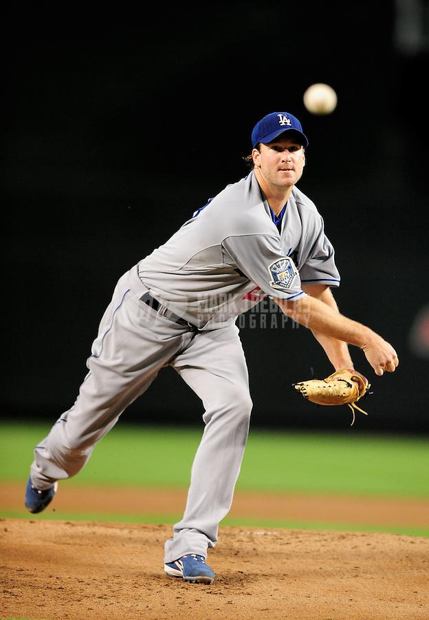 Jul 20, 2008; Phoenix, AZ, USA; Los Angeles Dodgers pitcher Derek Lowe pitches against the Arizona Diamondbacks at Chase Field. Mandatory Credit: Mark J. Rebilas-