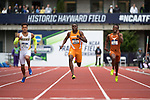 EUGENE, OR - JUNE 09: Christian Coleman of the University of Tennessee races to a first place finish in the 200 meter dash during the Division I Men's Outdoor Track & Field Championship is held at Hayward Field on June 9, 2017 in Eugene, Oregon. Coleman won the event with a 20.25 time. (Photo by Jamie Schwaberow/NCAA Photos via Getty Images)