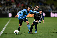 17th November 2019; Jubilee Oval, Sydney, New South Wales, Australia; A League Football, Sydney Football Club versus Melbourne Victory; Anthony Caceres of Sydney holds off James Donachie of Melbourne Victory