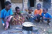 Children waiting for their breakfast
