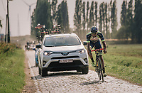 Guillaume Van Keirsbulck (BEL/Wanty-Groupe Gobert) on his way to an impressive solo victory over the cobbles<br /> <br /> Antwerp Port Epic 2018 (formerly &quot;Schaal Sels&quot;)<br /> One Day Race:  Antwerp &gt; Antwerp (207 km; of which 32km are cobbles &amp; 30km is gravel/off-road!)