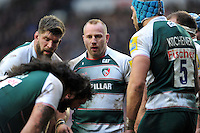 Leonardo Ghiraldini and other Leicester Tigers forwards huddle together during a break in play. Aviva Premiership match, between Leicester Tigers and Sale Sharks on February 6, 2016 at Welford Road in Leicester, England. Photo by: Patrick Khachfe / JMP