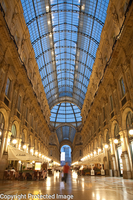 Vittorio Emanuele II Shopping Gallery in Milan, Italy illuminated at night