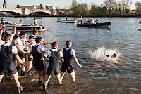 Mortlake/Chiswick, GREATER LONDON. United Kingdom. 2017 Men's Boat Race winners OUBC held over,The Championship Course, Putney to Mortlake on the River Thames.<br /> <br /> Crew: Oxford, Bow: William Warr, 2: Matthew O&rsquo;Leary &ndash; USA, 3: Oliver Cook, 4: Joshua Bugaski, 5: Olivier Siegelaar &ndash; NED, 6: Michael DiSanto &ndash; USA, 7: James Cook, Stroke: Vassilis Ragoussis, Cox: Sam Collier <br /> <br /> Cambridge; Bow: Ben Ruble &ndash; USA, 2: Freddie Davidson, 3: James Letten &ndash; USA., 4: Tim Tracey &ndash; USA., 5: Aleksander Malowany &ndash;CAN., 6: Patrick Eble &ndash; USA, 7: Lance Tredell, Stroke: Henry Meek and Cox: Hugo Ramambason &ndash; <br /> <br /> <br /> Sunday  02/04/2017<br /> <br /> [Mandatory Credit; Peter SPURRIER/Intersport Images]