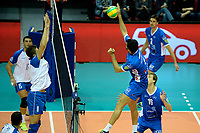 GRONINGEN - Volleybal, Abiant Lycurgus - Luboteni, voorronde Champions League, seizoen 2017-2018, 26-10-2017 smash Lycurgus speler Hossein Ghanbari