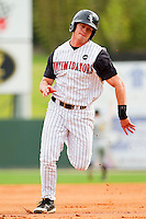 Brady Shoemaker #21 of the Kannapolis Intimidators hustles towards third base against the West Virginia Power at Fieldcrest Cannon Stadium on April 20, 2011 in Kannapolis, North Carolina.   Photo by Brian Westerholt / Four Seam Images