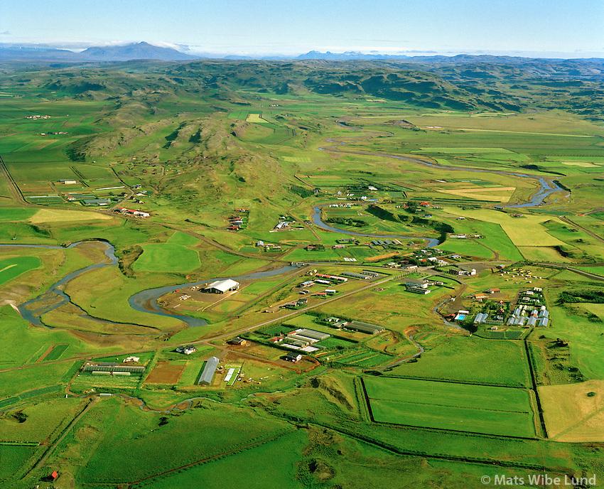 Hellisholt og Flúðir séð til norðurs, Hrunamannahreppur. / Hellisholt and Fludir viewing north. Hrunamannahreppur.