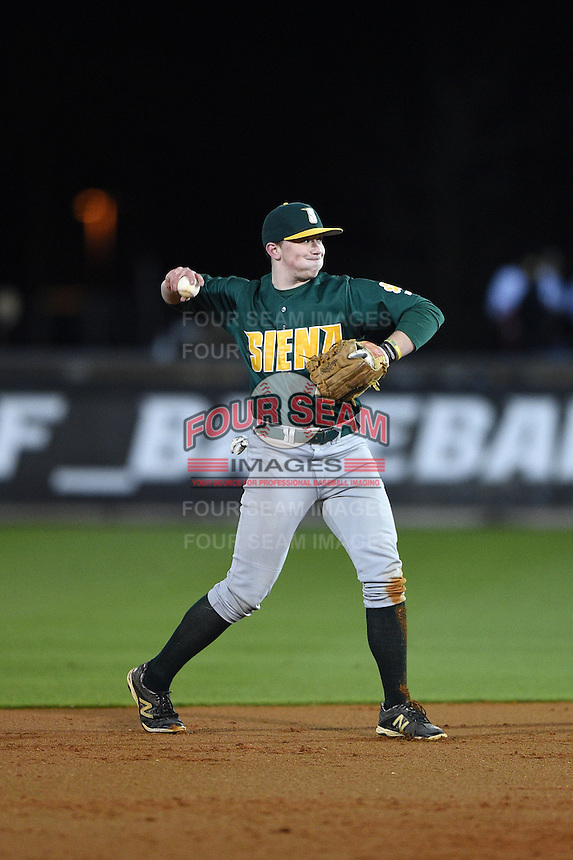 Siena Saints infielder Jordan Bishop (4) during the opening game of the season against the UCF Knights on February 13, 2015 at Jay Bergman Field in Orlando, Florida.  UCF defeated Siena 4-1.  (Mike Janes/Four Seam Images)