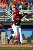 Batavia Muckdogs catcher Pablo Garcia (7) at bat during a game against the State College Spikes on June 24, 2016 at Dwyer Stadium in Batavia, New York.  State College defeated Batavia 10-3.  (Mike Janes/Four Seam Images)
