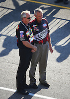 Sep 2, 2016; Clermont, IN, USA; NHRA pro mod former driver Shannon Jenkins (left) with former pro stock driver Bob Glidden during qualifying for the US Nationals at Lucas Oil Raceway. Mandatory Credit: Mark J. Rebilas-USA TODAY Sports
