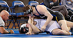 BROOKINGS, SD - JANUARY 11:  Cody Pack from South Dakota State University gets a near fall on Brook Woehl from Dakota Wesleyan in their 157 pound match Sunday afternoon at Frost Arena in Brookings. (Photo by Dave Eggen/Inertia)