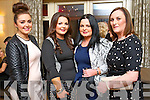 Orla Fitzgerald, Shauna Enright, Maire Enright and Siobhán Cotter, all from Tralee, enjoying the Hats and Heels fundraiser event held in the Ballygarry House Hotel & Spa, Tralee on Saturday night.