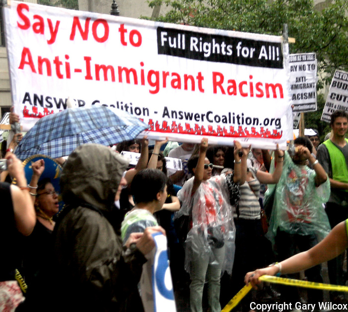 07/10/2010.... Pro immigrant forces at Copley Square during a rally and march along Huntington Avenue en route to the Sheraton Hotel, the scene of the National Governors Summer meeting..(Photo by Gary Wilcox).