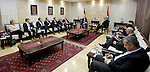 Palestinian Prime Minister Rami Hamdallah meets with Belgian Prime Minister Charles Michel in the West Bank city of Ramallah February 7, 2017. Photo by Prime Minister Office