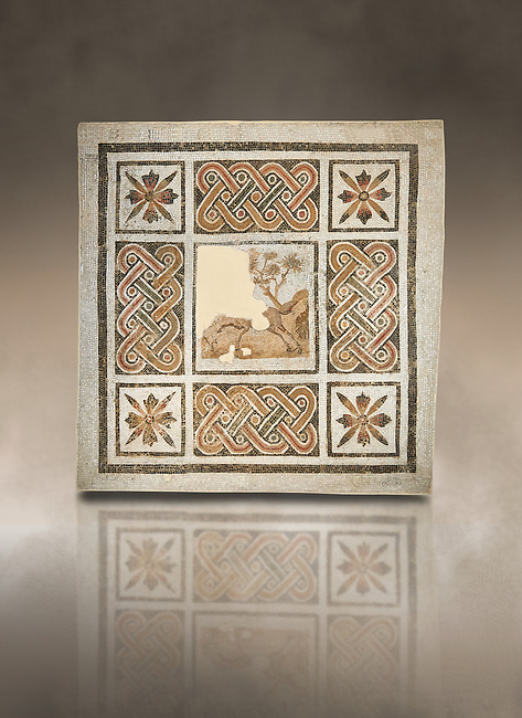 Pictures of a geometric Roman mosaics with strap work and cruciform flowers and in the centre a damaged depiction of a running deer, from the ancient Roman city of Thysdrus, Jilani Guirat area. 3rd century AD. El Djem Archaeological Museum, El Djem, Tunisia. Against an art background