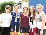 Caoimhe Curtis, Taylor Duff, Orla Balfe, Niamh McBride and Kayleigh Fay pictured at Ardee Rugby club's Family Fun day. Photo:Colin Bell/pressphotos.ie