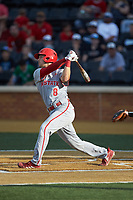 Will Wilson (8) of the Wake Forest Demon Deacons follows through on his swing against the Wake Forest Demon Deacons at David F. Couch Ballpark on April 18, 2019 in  Winston-Salem, North Carolina. The Demon Deacons defeated the Wolfpack 7-3. (Brian Westerholt/Four Seam Images)