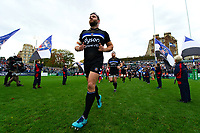 Nathan Catt and the rest of the Bath Rugby team run out onto the pitch. Heineken Champions Cup match, between Bath Rugby and Stade Toulousain on October 13, 2018 at the Recreation Ground in Bath, England. Photo by: Patrick Khachfe / Onside Images