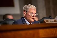 United States Senator Jim Inhofe (Republican of Oklahoma) speaks prior to the testimony of Director of Defense Capabilities and Management at the Government Accountability Office Elizabeth Field, Secretary of the Army Ryan McCarthy, Acting Secretary of the Navy Thomas Modly, Secretary of the Air Force Barbara Barrett, Chief of Staff of the U.S. Army General James McConville, Chief of Naval Operations Admiral Michael Gilday, Commandant of the Marine Corps General David Berger, and Chief of Staff of the U.S. Air Force General David Goldfein before the United States Senate Committee on Armed Services at the U.S. Capitol in Washington D.C., U.S., on Tuesday, December 3, 2019.  The panel discussed reports of substandard housing conditions for U.S. service members. <br /> <br /> Credit: Stefani Reynolds / CNP /MediaPunch