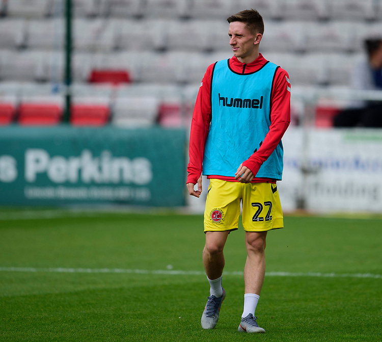 Fleetwood Town's Ashley Hunter during the pre-match warm-up<br /> <br /> Photographer Andrew Vaughan/CameraSport<br /> <br /> The EFL Sky Bet League One - Lincoln City v Fleetwood Town - Saturday 31st August 2019 - Sincil Bank - Lincoln<br /> <br /> World Copyright © 2019 CameraSport. All rights reserved. 43 Linden Ave. Countesthorpe. Leicester. England. LE8 5PG - Tel: +44 (0) 116 277 4147 - admin@camerasport.com - www.camerasport.com