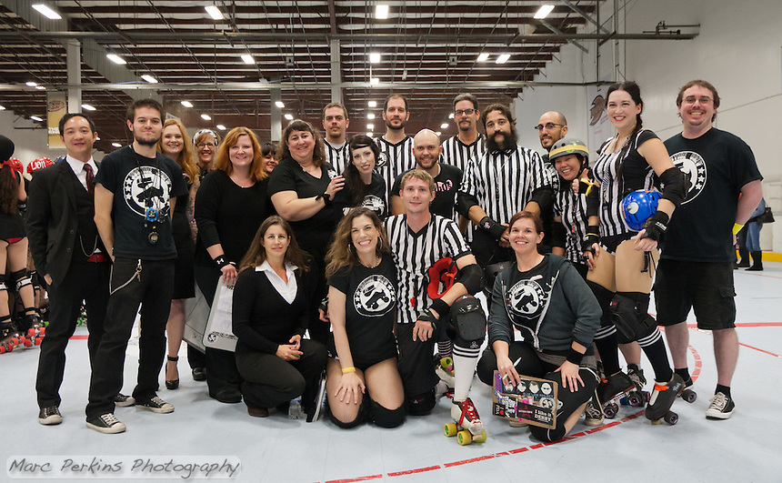 A group picture of the Orange County Roller Girls' referee crew for the November 17th home team championship bout.