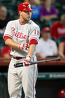 Philadelphia Phillies pinch hitter Darin Ruf #18 during the Major League baseball game against the Houston Astros on September 16th, 2012 at Minute Maid Park in Houston, Texas. The Astros defeated the Phillies 7-6. (Andrew Woolley/Four Seam Images).