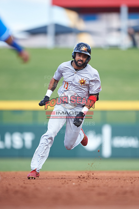 Mesa Solar Sox Derek Hill (11), of the Detroit Tigers organization, rounds second base before scoring an inside-the-park home run during an Arizona Fall League game against the Yaquis de Obregon as part of the Mexican Baseball Fiesta on September 29, 2019 at Sloan Park in Mesa, Arizona. Mesa defeated Obregon 7-0. (Zachary Lucy/Four Seam Images)