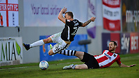 Lincoln City's Harry Anderson is fouled by Exeter City's Ryan Harley<br /> <br /> Photographer Chris Vaughan/CameraSport<br /> <br /> The EFL Sky Bet League Two Play Off Second Leg - Exeter City v Lincoln City - Thursday 17th May 2018 - St James Park - Exeter<br /> <br /> World Copyright &copy; 2018 CameraSport. All rights reserved. 43 Linden Ave. Countesthorpe. Leicester. England. LE8 5PG - Tel: +44 (0) 116 277 4147 - admin@camerasport.com - www.camerasport.com