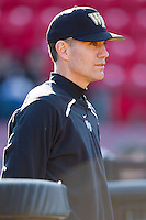 Wake Forest Demon Deacons head coach Tom Walter #32 prior to the start of their game against the Western Carolina Catamounts at Gene Hooks Field on February 22, 2011 in Winston-Salem, North Carolina.  Photo by Brian Westerholt / Four Seam Images