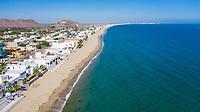 Aerial view of white beach houses in the Bay of Kino, Sonora, Mexico. sea. tourist destination, trip, Gulf of California, aerial, high angle view, beach, Mar de Cortes, Mar Bermejo, northwest, calm, aerial photography, horizon.<br /> (Photo: Luis Gutierrez)<br /> <br /> <br /> Vista aerea de casas de playa de color blanco en la Bahía de Kino, Sonora, México. mar. destino turistico, viaje, Golfo de California, aerial, high angle view, beach, Mar de Cortes, mar Bermejo, northwest, calm, fotografia aerea, horizon.<br /> (Photo:Luis Gutierrez)
