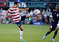 PORTLAND, Ore. - July 9, 2013: Michael Parkhurst passes the ball in the first half. The US Men's National team plays the National team of Belize during the 2013 Gold Cup at at JELD-WEN Field.