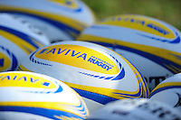 A general view of Aviva Premiership branded balls. Aviva Premiership match, between Bath Rugby and Wasps on March 4, 2017 at the Recreation Ground in Bath, England. Photo by: Patrick Khachfe / Onside Images